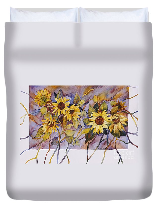 Sunflower Duvet Cover featuring the painting Sunflower Stems by Jackie Friesth