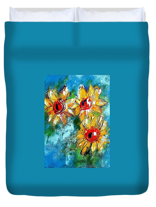 Sunflowers Duvet Cover featuring the painting Sunflower Study Painting by Mary Cahalan Lee- aka PIXI