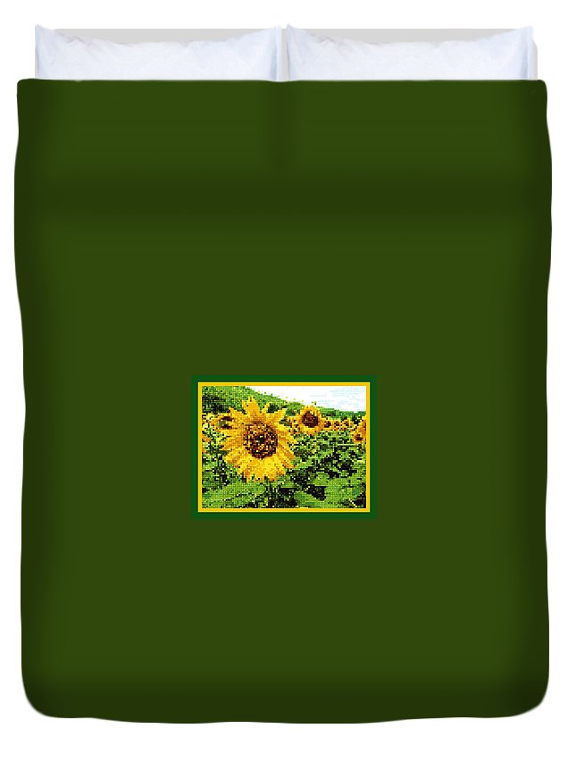 Duvet Cover featuring the photograph Sunflower Tapestry by Nikki Keep