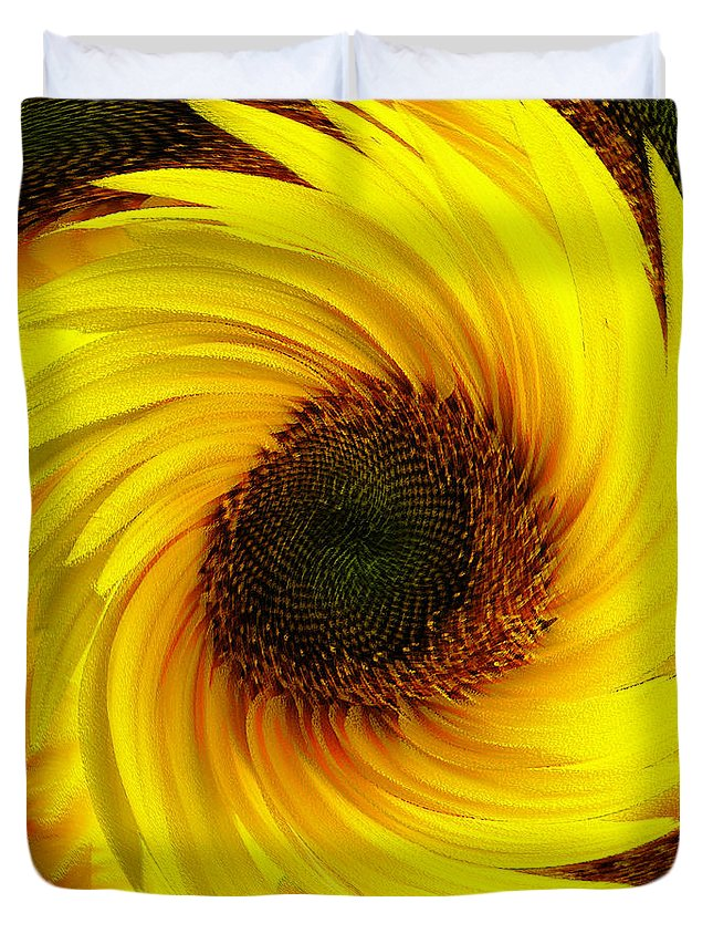 Natural Duvet Cover featuring the painting Sunflower Twirl by Neil Finnemore