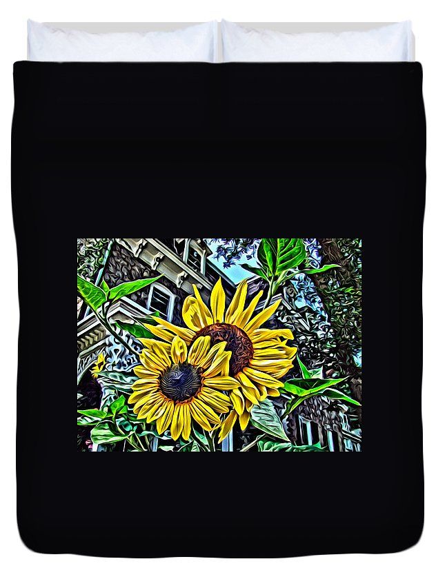 Sunflower Duvet Cover featuring the photograph Sunflower Under The Gables Too by Alice Gipson