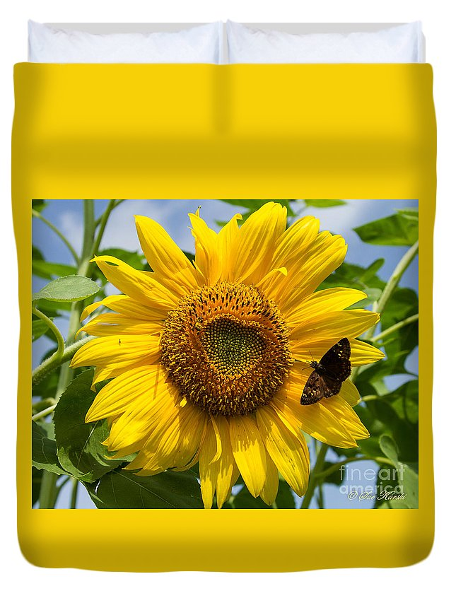 Foliage Duvet Cover featuring the photograph Sunflower With Butterfly by Sue Karski