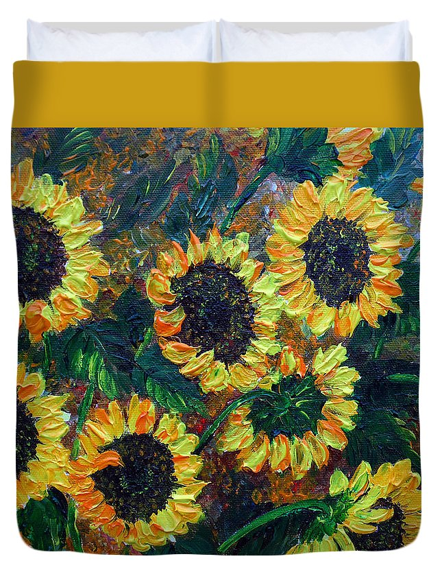 Sunflowers Duvet Cover featuring the painting Sunflowers 2 by Karin Dawn Kelshall- Best