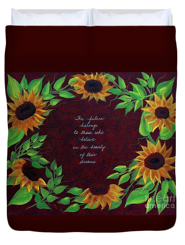 Barbara Griffin Duvet Cover featuring the painting Sunflowers And Dreams by Barbara Griffin