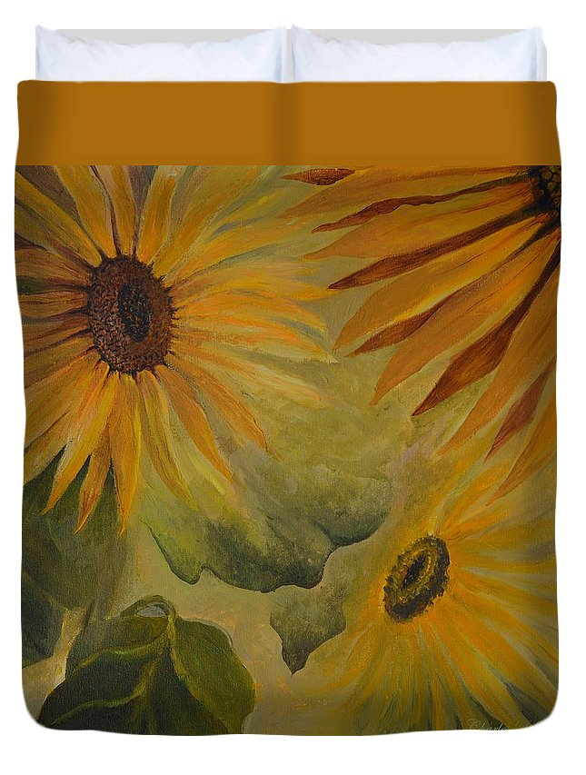 Sunflowers Duvet Cover featuring the painting Sunflowers by Charles Owens
