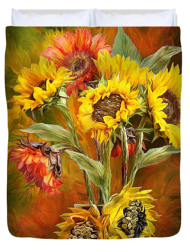 Sunflowers Duvet Cover featuring the mixed media Sunflowers In Sunflower Vase - Square by Carol Cavalaris