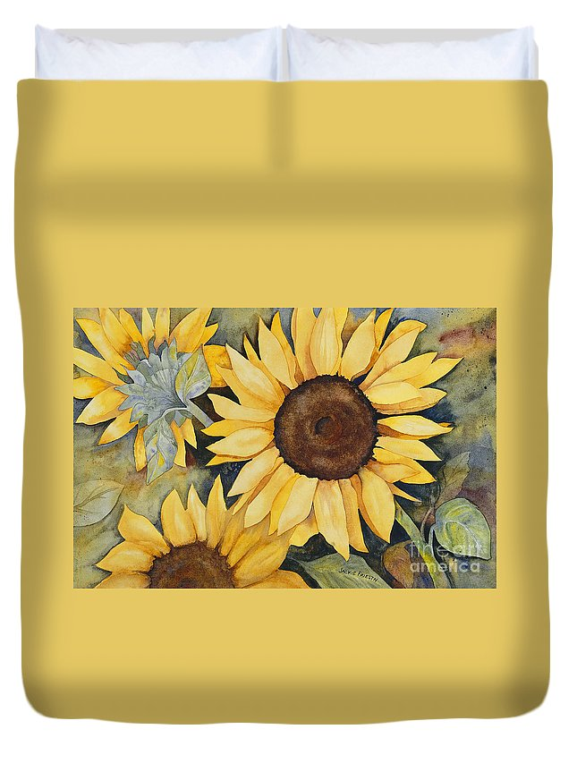 Sunflower Duvet Cover featuring the painting Sunflowers by Jackie Friesth