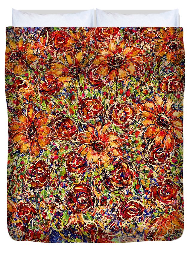 Sunflowers Duvet Cover featuring the painting Sunflowers by Natalie Holland