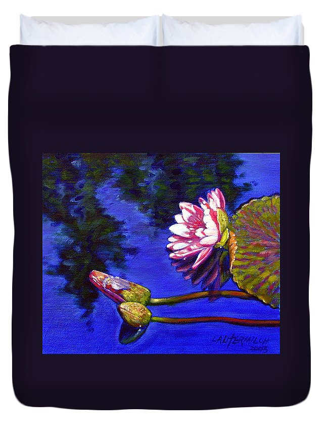 Water Lily Duvet Cover featuring the painting Sunlight On Pink by John Lautermilch