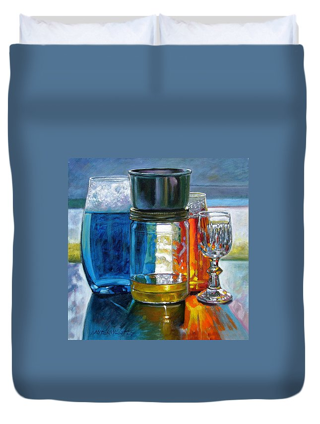 Still Life Duvet Cover featuring the painting Sunlight Shining through Glass by John Lautermilch