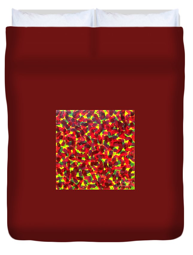 Abstract Duvet Cover featuring the painting Sunlight Through The Trees by Dean Triolo