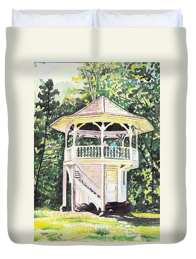 Buildings Duvet Cover featuring the painting Sunlit Memories by Dale Jackson