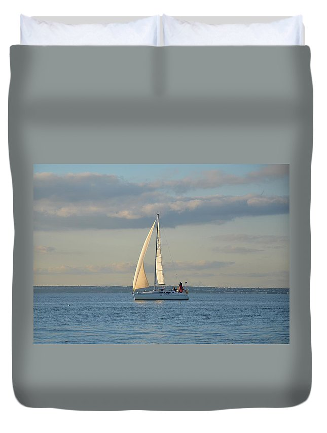 Sail Duvet Cover featuring the photograph Sunlit Sailboat by Malcolm Snook