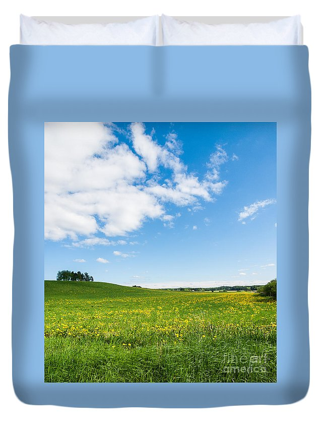 Art Duvet Cover featuring the photograph Sunny Day At The Fields Of Gold by Ismo Raisanen