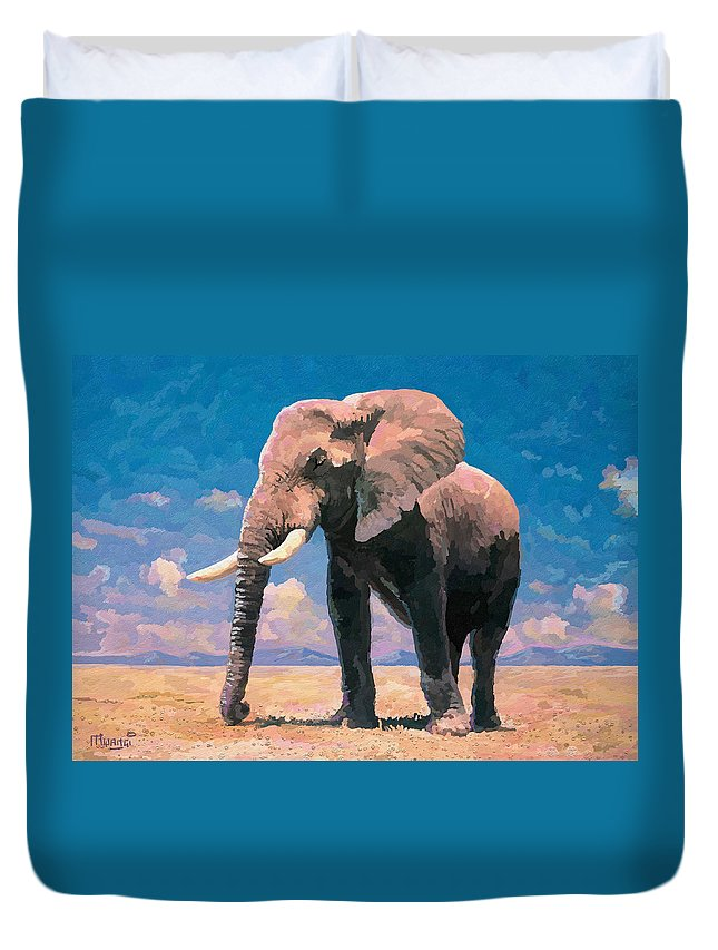 Safari Duvet Cover featuring the painting Sunny Day In The Savanna by Anthony Mwangi