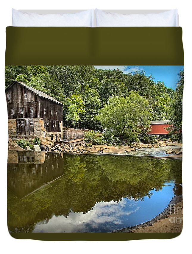 Mcconnells Mill State Park Duvet Cover featuring the photograph Sunny Days At Mcconnells Mill by Adam Jewell