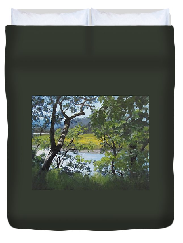 Summer Duvet Cover featuring the painting Sunny River by Karen Ilari