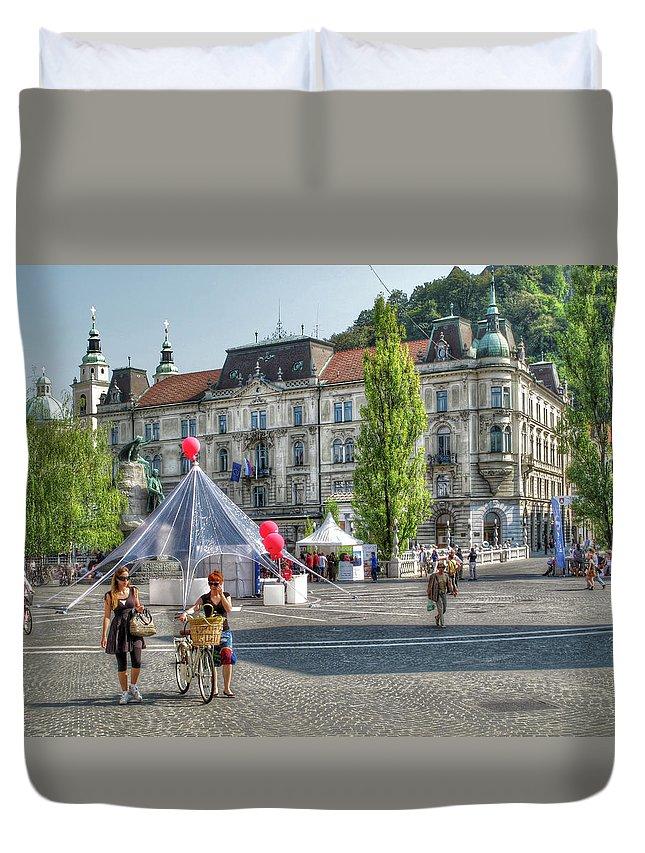 Jubljana Duvet Cover featuring the photograph Sunny Slovenia by Douglas J Fisher