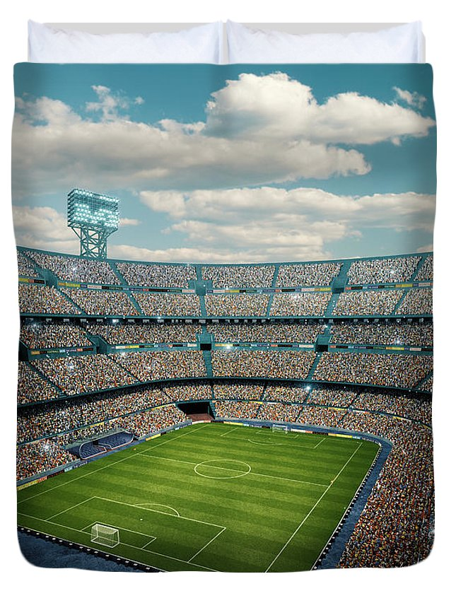 Event Duvet Cover featuring the photograph Sunny Soccer Stadium Panorama by Dmytro Aksonov