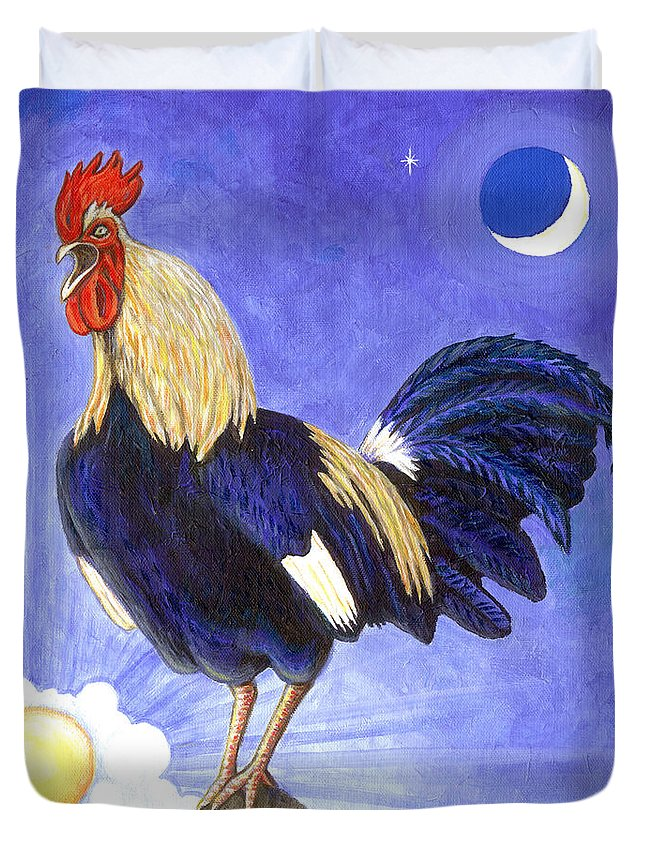 Rooster Duvet Cover featuring the painting Sunny The Rooster by Linda Mears