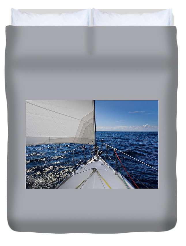 Sailboat Duvet Cover featuring the photograph Sunny Yacht Bow by Gary Eason