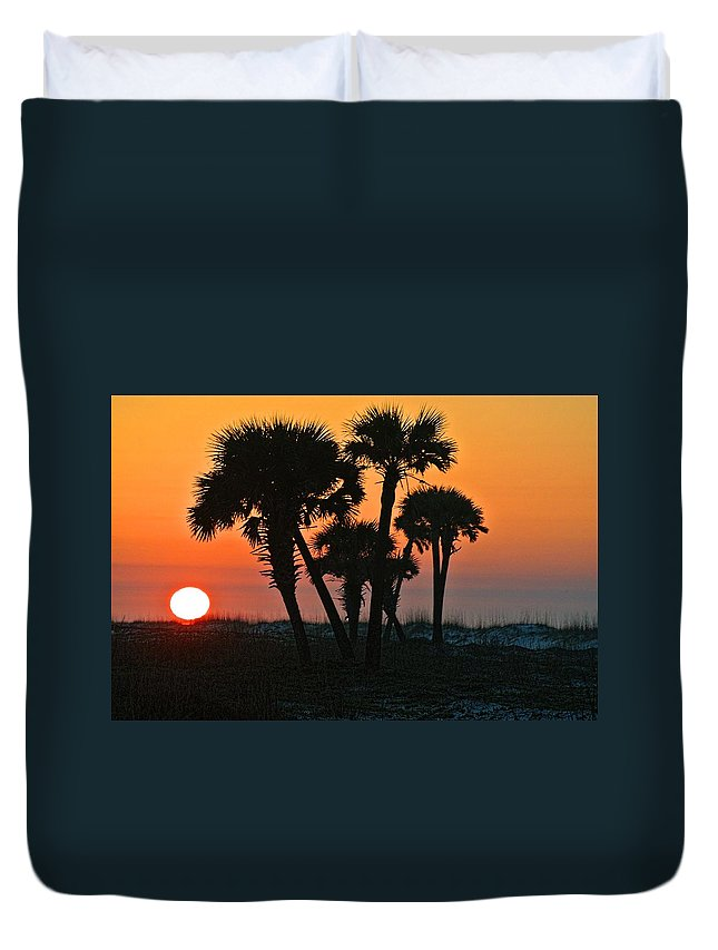 Palm Duvet Cover featuring the digital art Sunrise And Group Of Palm Trees by Michael Thomas