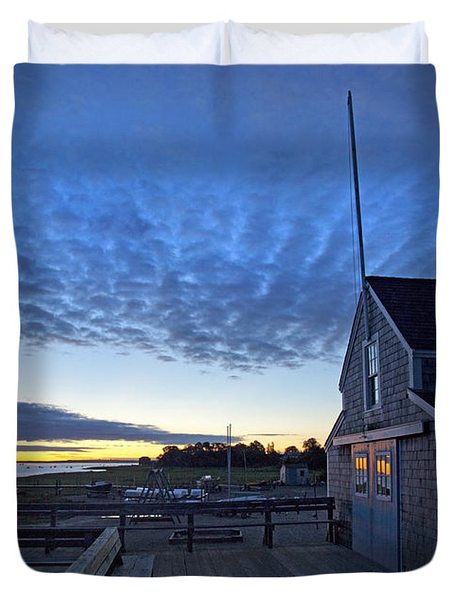 Barnstable Duvet Cover featuring the photograph Sunrise At Barnstable Yacht Club by Charles Harden