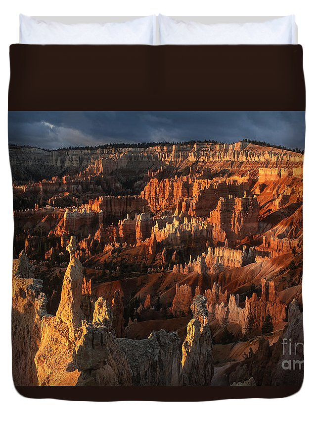 Bryce Canyon Duvet Cover featuring the photograph Sunrise At Bryce Canyon by Sandra Bronstein