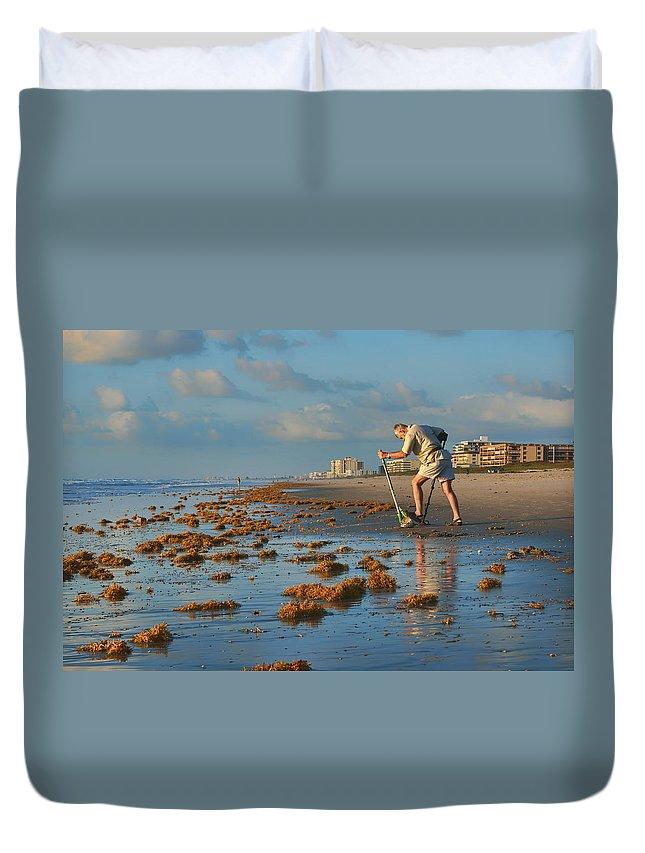 Cocoa Beach Duvet Cover featuring the photograph Sunrise At Cocoa Beach by Nikolyn McDonald