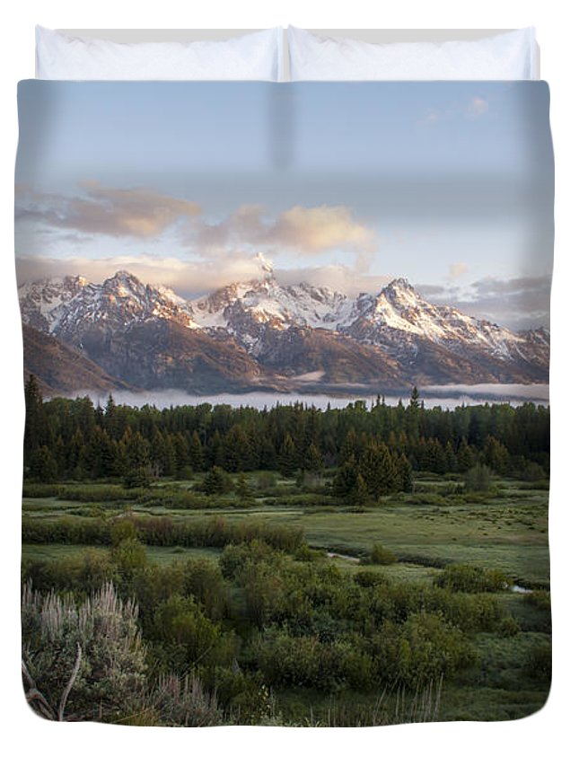 Sunrise At Grand Teton National Park Brian Harig Duvet Cover featuring the photograph Sunrise At Grand Teton by Brian Harig
