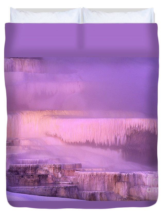 North America Duvet Cover featuring the photograph Sunrise At Minerva Springs Yellowstone National Park by Dave Welling