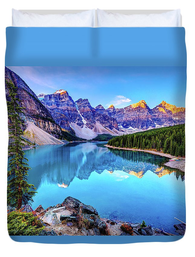 Tranquility Duvet Cover featuring the photograph Sunrise At Moraine Lake by Wan Ru Chen