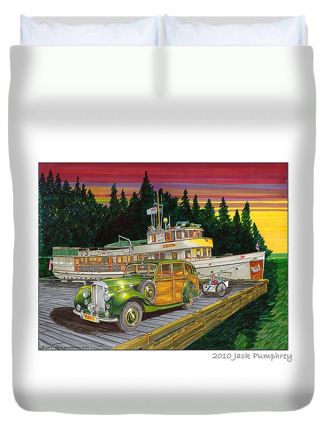 Image Of 1934 Bentley Shooting Brake On The Dock At The Seattle Yacht Club Port Madison Out Station Duvet Cover featuring the painting Port Madison Sunrise by Jack Pumphrey