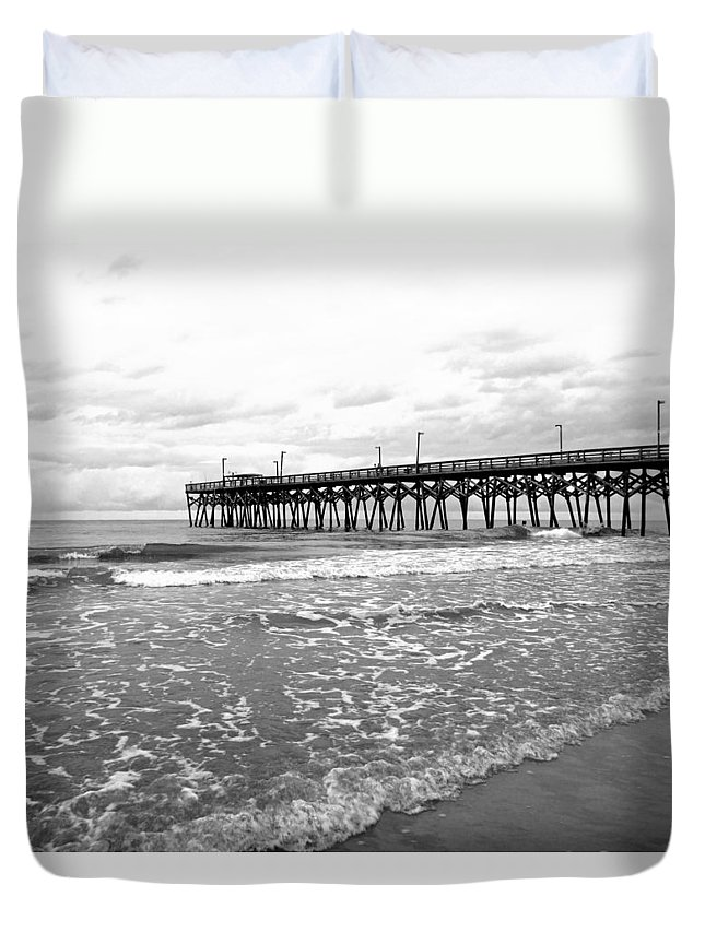 Black And White Duvet Cover featuring the photograph Sunrise At Surfside Bw by Barbara McDevitt