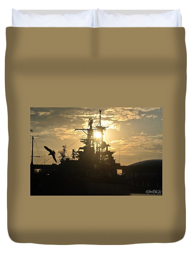 Sunrise Duvet Cover featuring the photograph Sunrise At The Naval Base Silhouette Erie Basin Marina V2 by Michael Frank Jr