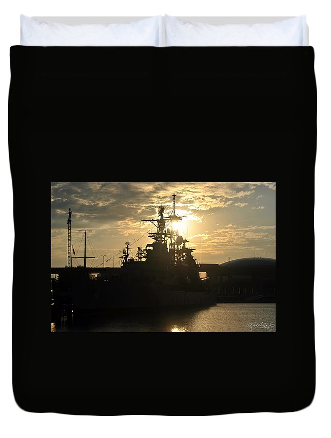 Sunrise Duvet Cover featuring the photograph Sunrise At The Naval Base Silhouette Erie Basin Marina V3 by Michael Frank Jr