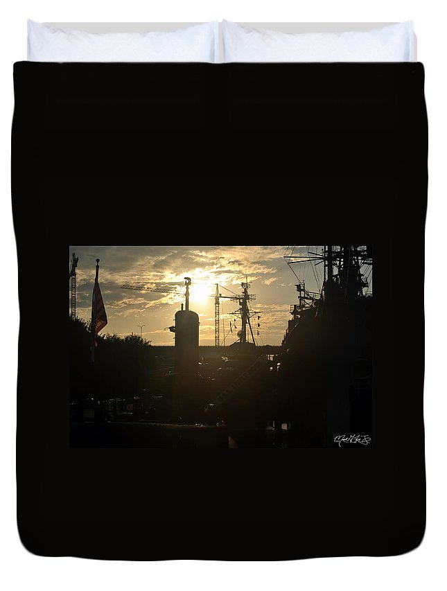 Sunrise Duvet Cover featuring the photograph Sunrise At The Naval Base Silhouette Erie Basin Marina V4 by Michael Frank Jr