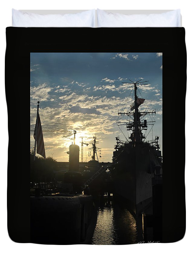 Sunrise Duvet Cover featuring the photograph Sunrise At The Naval Base Silhouette Erie Basin Marina V5 by Michael Frank Jr