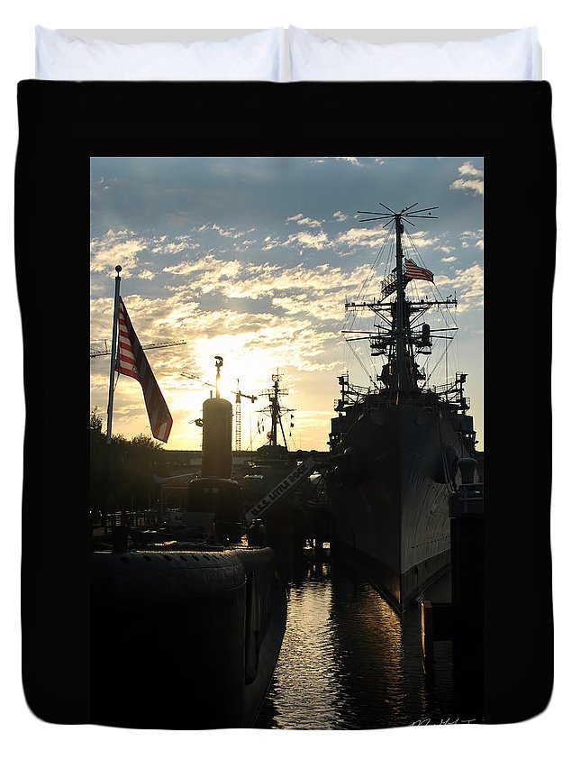 Sunrise Duvet Cover featuring the photograph Sunrise At The Naval Base Silhouette Erie Basin Marina V6 by Michael Frank Jr