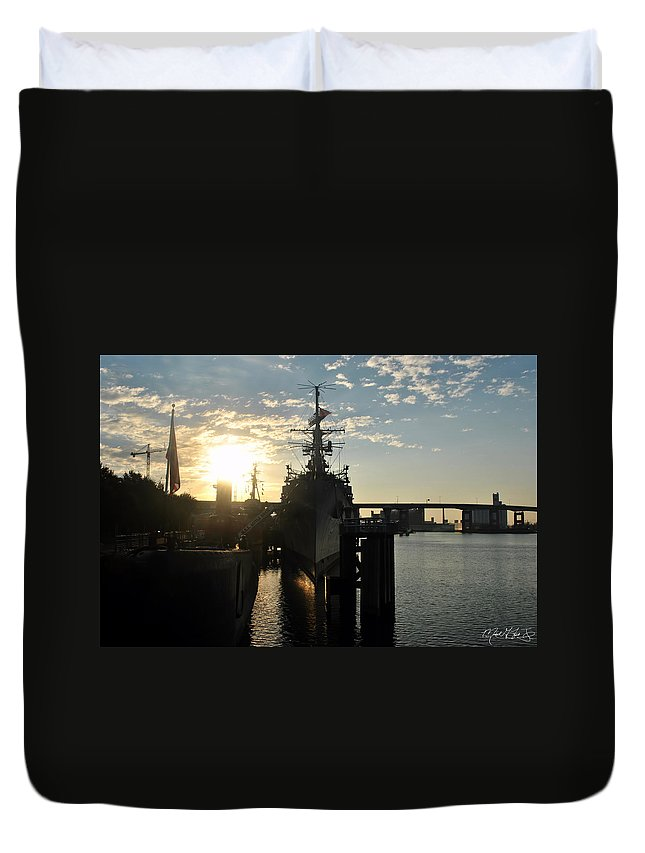 Sunrise Duvet Cover featuring the photograph Sunrise At The Naval Base Silhouette Erie Basin Marina V7 by Michael Frank Jr
