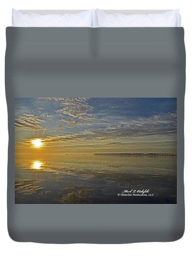 Canvas Duvet Cover featuring the photograph Sunrise Biloxi Ms Dec 2 2013 by Mark Olshefski