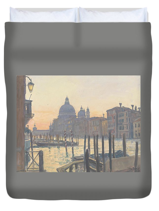 Venice; Dome; Architecture; Canal; Moon; Scenic Duvet Cover featuring the painting Sunrise Grand Canal by Julian Barrow