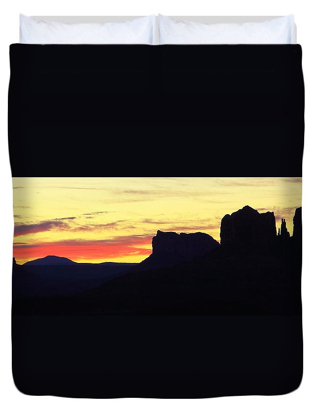 Sunrise Duvet Cover featuring the photograph Sunrise In Sedona by Roupen Baker