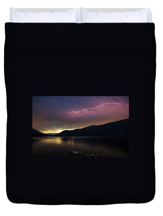 Landscape Duvet Cover featuring the photograph Sunrise Lightning by Joy McAdams