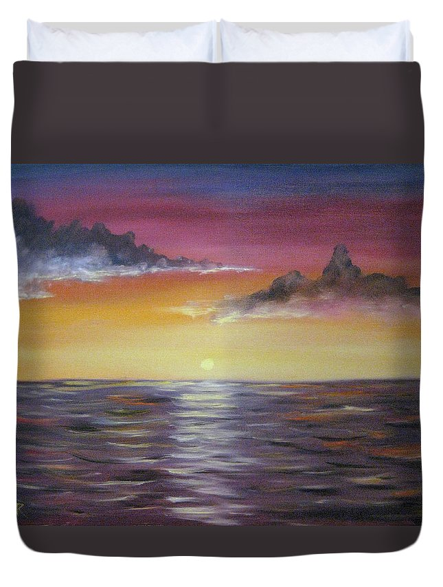 Seascape Duvet Cover featuring the painting Sunrise by Nick Robinson
