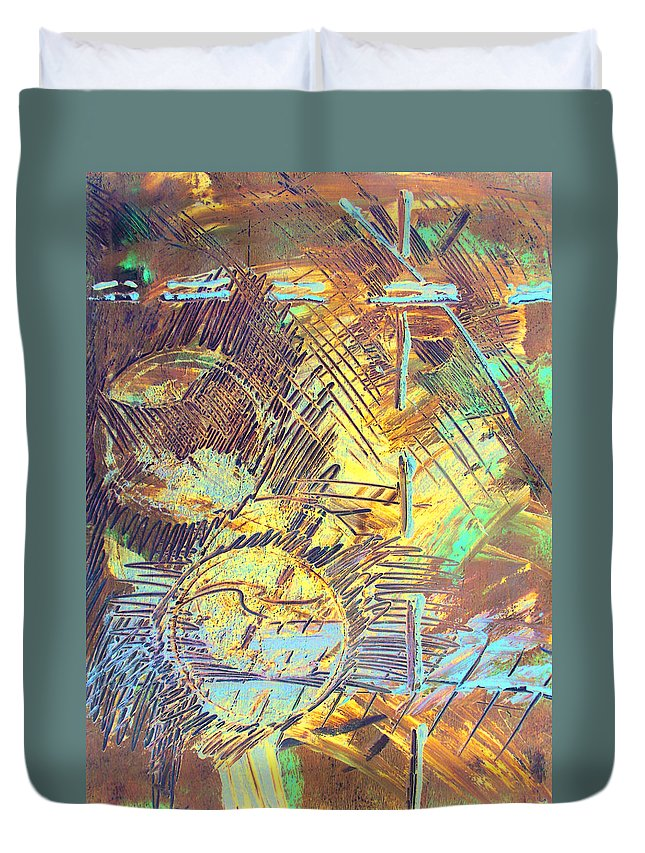 Sunrise Duvet Cover featuring the painting Sunrise One by Albert Puskaric