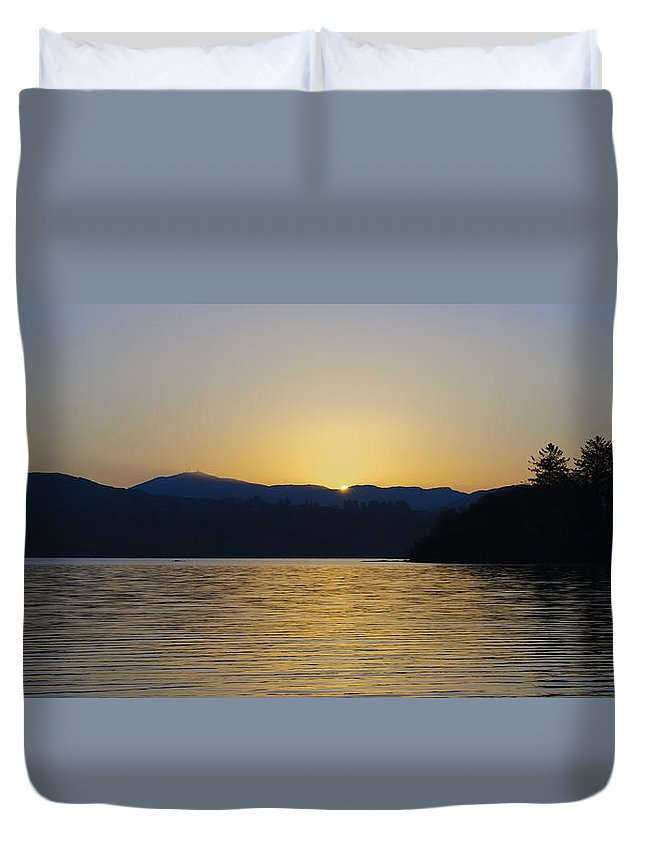 Sunrise Duvet Cover featuring the photograph Sunrise Over Lough Eske And The Bluestack Mountains by Bill Cannon