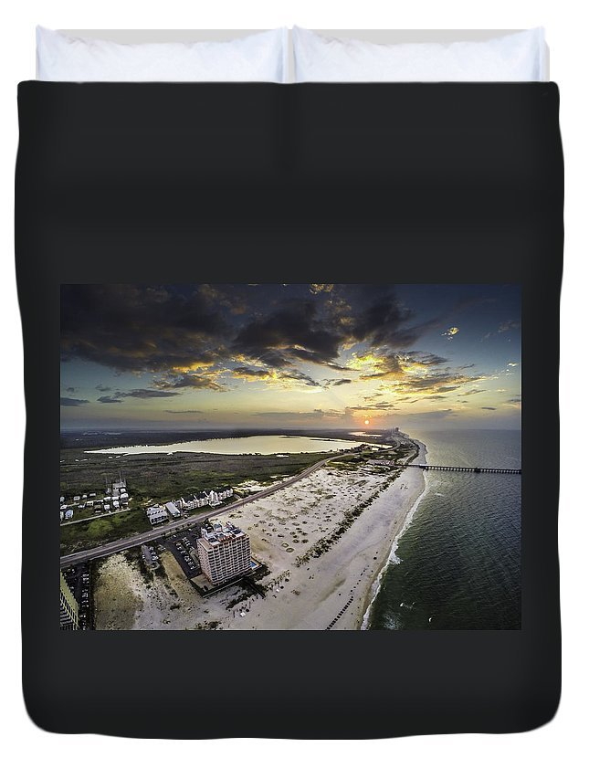 Palm Duvet Cover featuring the digital art Sunrise Over The Royal Palms by Michael Thomas