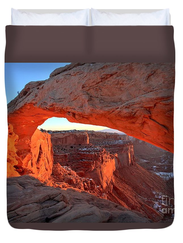Mesa Arch Sunrise Duvet Cover featuring the photograph Sunrise Paint by Adam Jewell