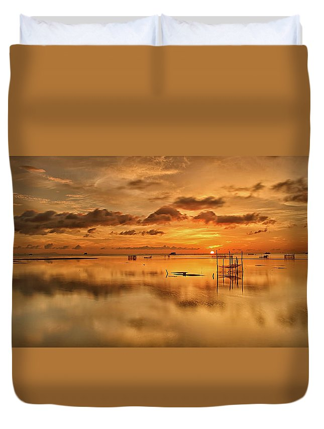 Scenics Duvet Cover featuring the photograph Sunrise, Phu Quoc, Vietnam by Huyenhoang